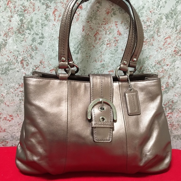 Coach Handbags - COACH Bronze Leather SOHO BUCKLE Carry All Tote